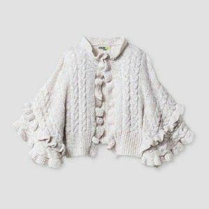 OshKosh Cream Poncho Ruffle Sweater Girls 4T